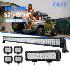 "52Inch LED Light Bar Combo +12"" +4"" CREE PODS OFFROAD Truck Ford Chevy Pickup 50"