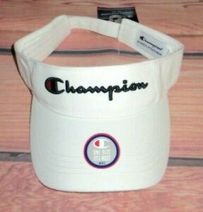 MENS CHAMPION WHITE VISOR HAT ADJUSTABLE CAP