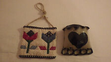 """Crockery Blue Heart Matchbook Wall Decor Holder & Flower Cloth 3.5""""x 3"""""""