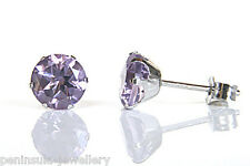 9ct White Gold Amethyst 6mm Stud earrings Gift Boxed studs