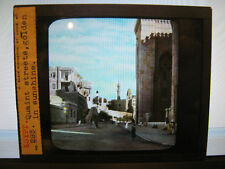 Antique 30s/40s Egyptian Magic Lantern Glass Slide Quaint Streets Gold Sunshine