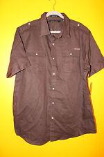 New Sean John two pocket button down S/ Sleeve brown dress shirt men's M