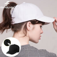 Women Lady Cotton Ponytail Baseball Cap Messy Bun Summer Sun Hat Snapback Caps