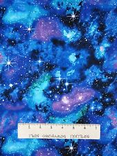 Space Fabric - Galaxy Stars Blue Green Black - Timeless Treasures YARD