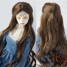 """8~9"""" 1/3 BJD Doll  SD DZ DOD Long Wavy Princess Dark Brown Mohair Part Bang Wig"""