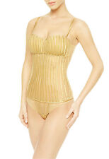 La Perla Graphique Couture Collection 34B Bustier Gold Silk Boning New $862
