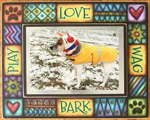 """Vibrant Picture Frame """"Love, Play, Bark, Wag"""""""