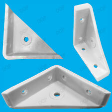 "50x 50mm 2"" Plastic White Cranked Corner Gusset Brace Angle Brackets, Furniture"