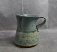 Handcrafted Art Pottery Stoneware Blue Small Pitcher Signed Cher