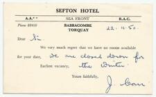 1950 Postcard - Sefton Hotel, Babbacombe, Torquay, Devon