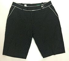 Bobby Jones Womens Golf Shorts Size 12 Black White Polka Dot Stretch Bermuda