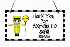 Personalised Lollipop Lady / Man Hanging Plaque Wall Sign Present Gift Thank You