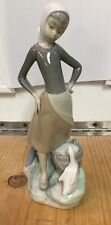 """Lladro Figurine Girl With Goose And Milk Pail 4862 Pristine Condition Appx 9.5"""""""
