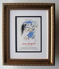 CHAGALL Galerie des Ponchettes Oeuvre Grave Exhibition Poster SIGNED Framed COA
