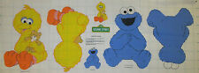 BABY COOKIE MONSTER & BABY BIG BIRD Sesame Street Fabric Panel Soft Toy ~ NEW