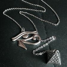 Silver Egypt Eye of Horus/Pyramid Lariat Pendant Necklace--Stainless Steel Chain