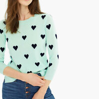 NEW $135 J.CREW Everyday CASHMERE Crewneck Sweater with Intarsia-Knit Hearts XXS