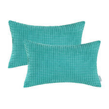 Pack of 2 Cushion Covers Pillows Cases Soft Corduroy Striped 30X50 Turquoise