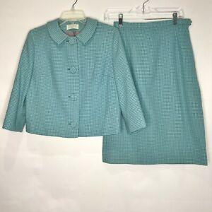 Vintage 1960's Pendleton Woman's Suit sz 12 100% Virgin Wool Blue Houndstooth