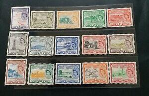 ST. KITTS - NEVIS 1954 QE II 1/2c to $4.8  SG 106a - 118 Sc 120 - 134 set 15 MNH