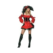 XS S Sexy Pirate Wench Lace Up Corset Gothic Ribbons Off Shoulder Mini Dress
