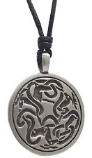 Pewter 3 STAGS Pendant on Adjustable Black Cord Necklace Nickel Free Celtic Deer