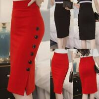 Women Midi Vintage Skirt Open Slit Button Bodycon Slim Pencil Skirt Plus Size