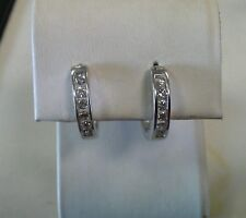 14k White Gold ZEI 1/2 carat Diamond Hoop Earrings