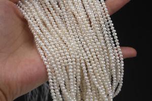 "diy 3 mm Natural white Freshwater Pearl Loose Srtrand beads 14"""