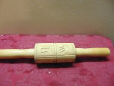 Vintage Wooden Rolling Pin Embossed Decorative Patterns Carved Designs