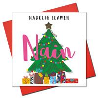 Welsh Grandma Christmas Card, Nadolig Llawen Nain, padded star embellished