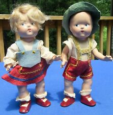 2 Early Vogue Ginny TODDLES Tyrolean Strung Composition Dolls Original Outfits