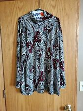 Susan Graver New Never Worn liquid Knit Paisley Top Womens Plus Size 3x