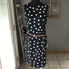 Anne Klein Navy Blue White Polka Dot Zip Cotton Belt Sleeveless Sheath Dress 8