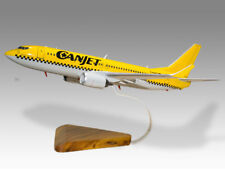 Boeing 737-800 Canjet Yellow Solid Mahogany Wood Handcrafted Airplane Desk Model