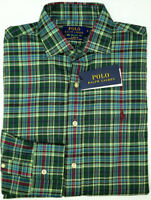 NEW $125 Polo Ralph Lauren Long Sleeve Performance Flannel Shirt Mens Green Pld