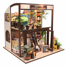 DIY Time Coffee Store Dollhouse Wooden Miniature Furniture Kit Led Light Kid Toy