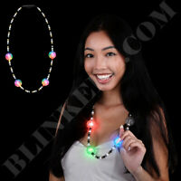 Flashing Beads Party Necklace New Years Mardi Gras Light Up Flashing LED Fun