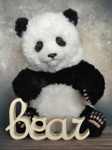 Panda Lee, teddy, realistic, live toy, collectible gift, Realistic 14 in OOAK