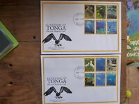 TONGA 2016 MARINE LIFE SET 12 STAMPS ON 2 FDC FIRST DAY COVERS