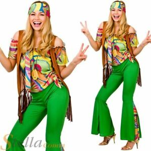 Ladies Groovy Hippie Costume Hippy 60s 70s Womens Fancy Dress Adult Outfit