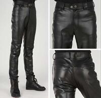 Punk Stylish Men Pants Korea Skinny Motorcycle Slim Fit Leather Black Trousers