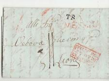 1834 SICILIA lettera MESSINA-LIONE-cartella ROSSA TRANSITO+timbri e TASSE-i859