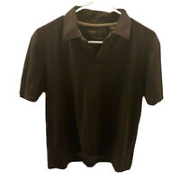 Perry Ellis Mens Polo Shirt Brown 100% Pima Cotton Short Sleeve Button L