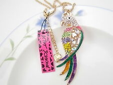 Betsey Johnson colour Parrot  inlay Crystal Pendant Necklace Sweater chain LL02