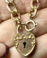 Antique Gold Fill repousse Bracelet, Heart Padlock. No Key. Victorian Jewelry