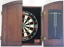 Winmau Blade 5 FIVE Dart Board & TIMBER Cherry Colour Wood Cabinet + Darts SET