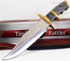 Timber Rattler Buffalo Joe Finger Grooved Bowie Hunting Skinning Knife + Sheath