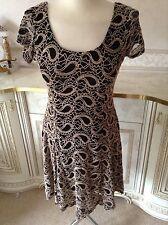 Izabel London Size 8 Semi Sheer Lacy Black Beige Formal Party Dress Vgc