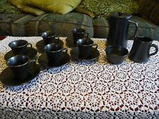 PRINKNASH POTTERY PEWTER TEA SET - TEAPOT.MILK JUG.SUGAR BOWL.6 CUPS.6 SAUCERS